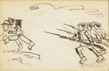 Drawing depicting Red Army cadres ousting capitalists and other enemies of the Russian Revolution, from a handmade Yiddish book produced in a Jewish orphanage in Bershad, Ukraine, 1924. YIVO Vilna Collections Project.